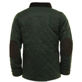 Game Oxford Quilted Wax Jacket Olive Back