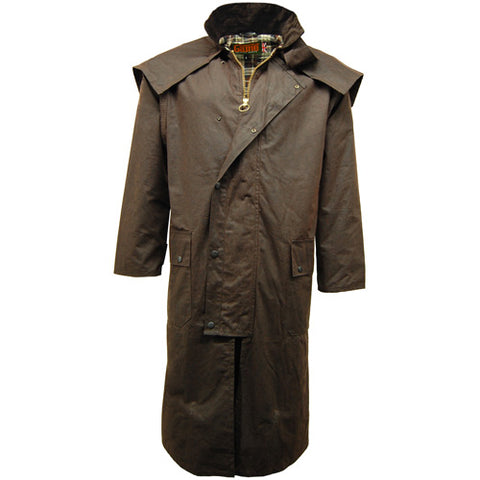 Game Mens Stockman Long Cape Jacket Brown