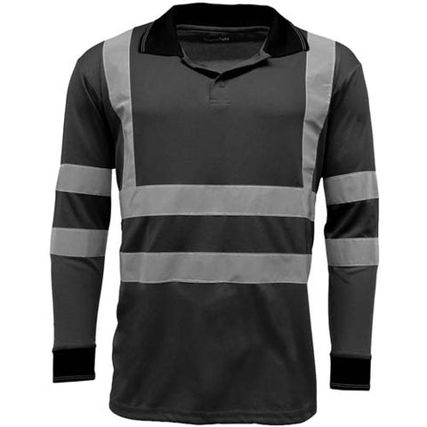 Hi Vis Long Sleeve Polo Shirt Blackj