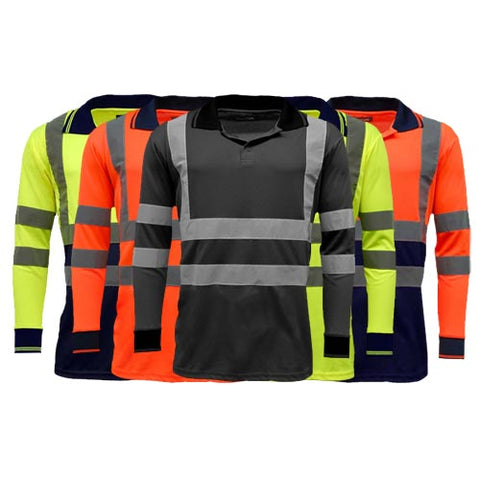 Hi Vis Long Sleeve Polo Shirts