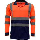 Hi Vis Long Sleeve Polo Shirt Orange Navy
