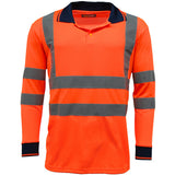 Hi Vis Long Sleeve Polo Shirt Orange