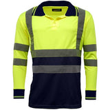 Hi Vis Long Sleeve Polo Shirt Yellow Navy
