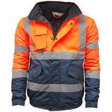 Kapton Hi Vis Bomber Jacket Orange/Navy