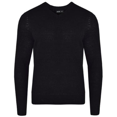 Mens L17-113 Plain V Neck Jumper Black