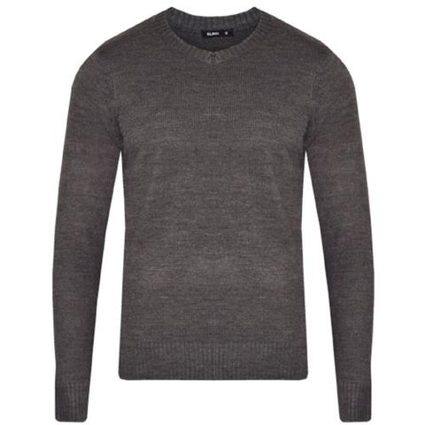 Mens L17-113 Plain V Neck Jumper Charcoal