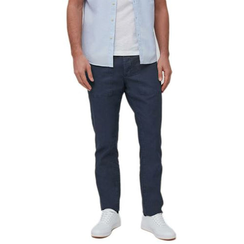 Mens Straight Fit Linen Blend Trousers