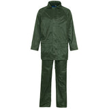 Supertouch Plain and Hi Vis Rainsuit Green