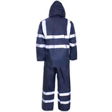 Supertouch Plain and Hi Vis Rainsuit Hi Vis Navy