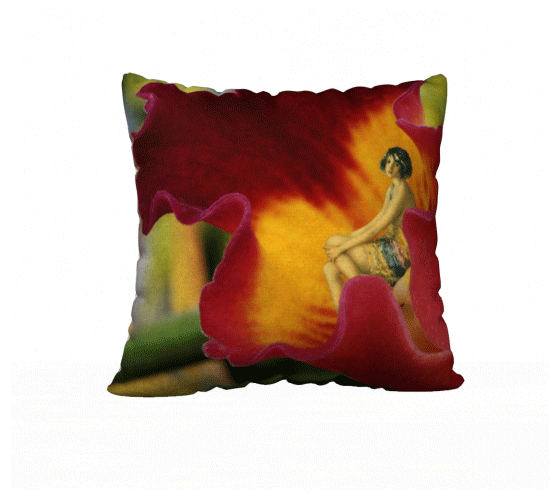 "Velveteen Pillow Cover - ""Flower Girl"" 22x22"