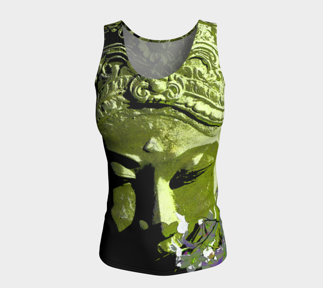 Fitted Tank Top Long - 'Remembering'- Emerald