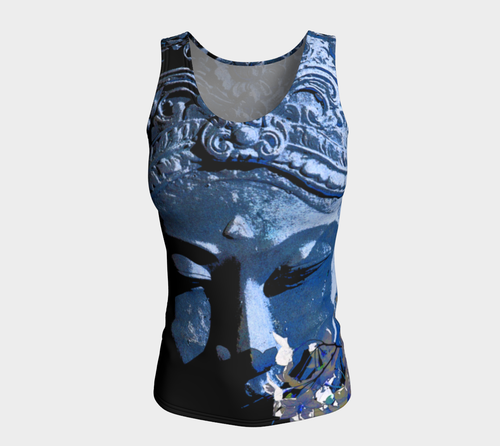 Fitted Tank Top Long - 'Remembering' - Lapis
