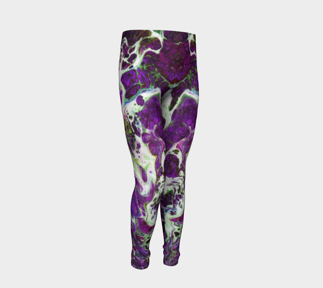 Youth Leggings - 'Sand and Foam' Purple/Green