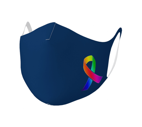 "Double Knit Face Covering - ""Awareness Ribbon"" Basic Navy"