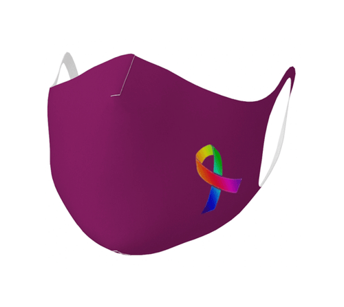 "Double Knit Face Covering - ""Awareness Ribbon"" Very Berry"