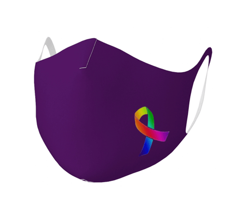 "Double Knit Face Covering - ""Awareness Ribbon"" Plum Pudding"