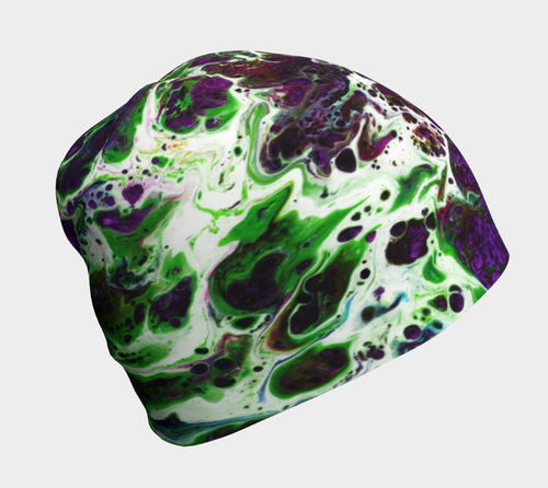 Beanie - 'Sand and Foam'  Green/Purple