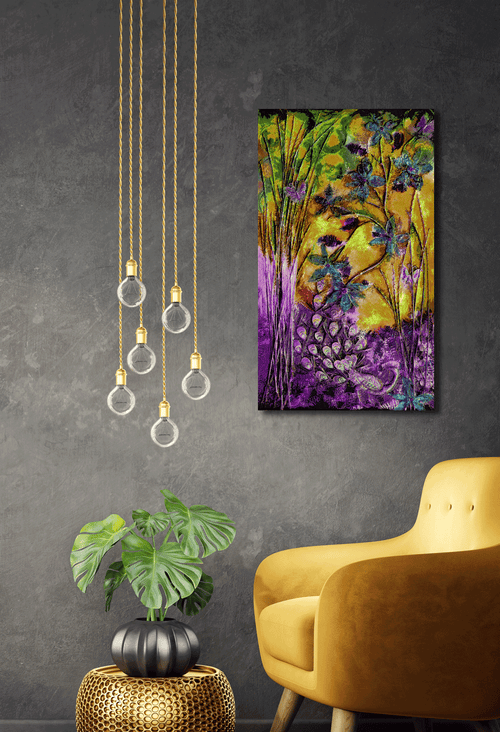 "Metal Print - ""Bliss-Full"" Purple/Yellow 12x24"