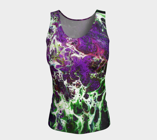 Fitted Tank Top Long - 'Sand and Foam' - Purple/Green