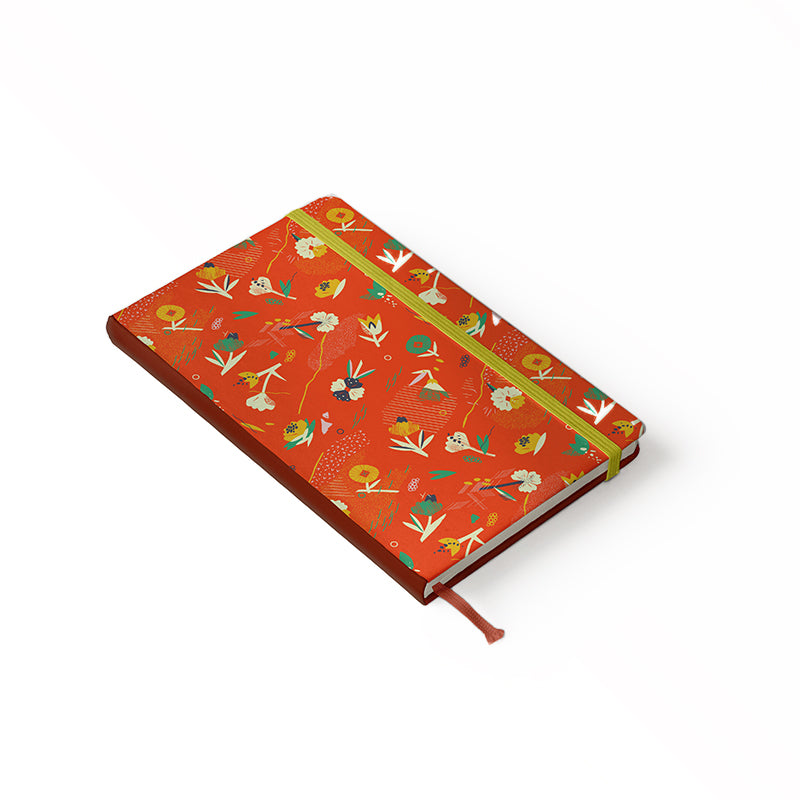 "Daily Planner Notebook - Ángela Corti 5"" x 8.25"" Lined (Red)"