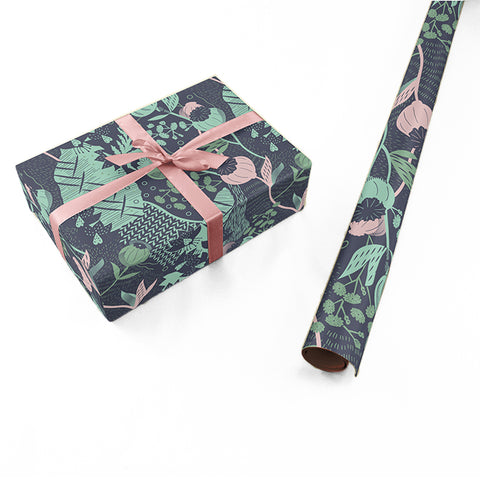 "Wrapping Paper - Ángela Corti Roll (2 sheets) - 27"" x 39"" (Navy)"