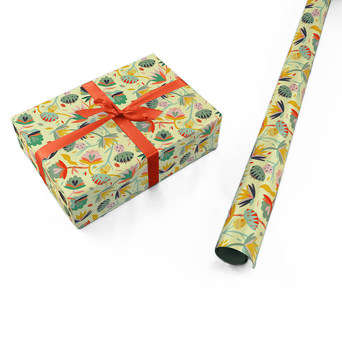 "Wrapping Paper - Ángela Corti Roll (2 sheets) - 27"" x 39"" (Yellow)"