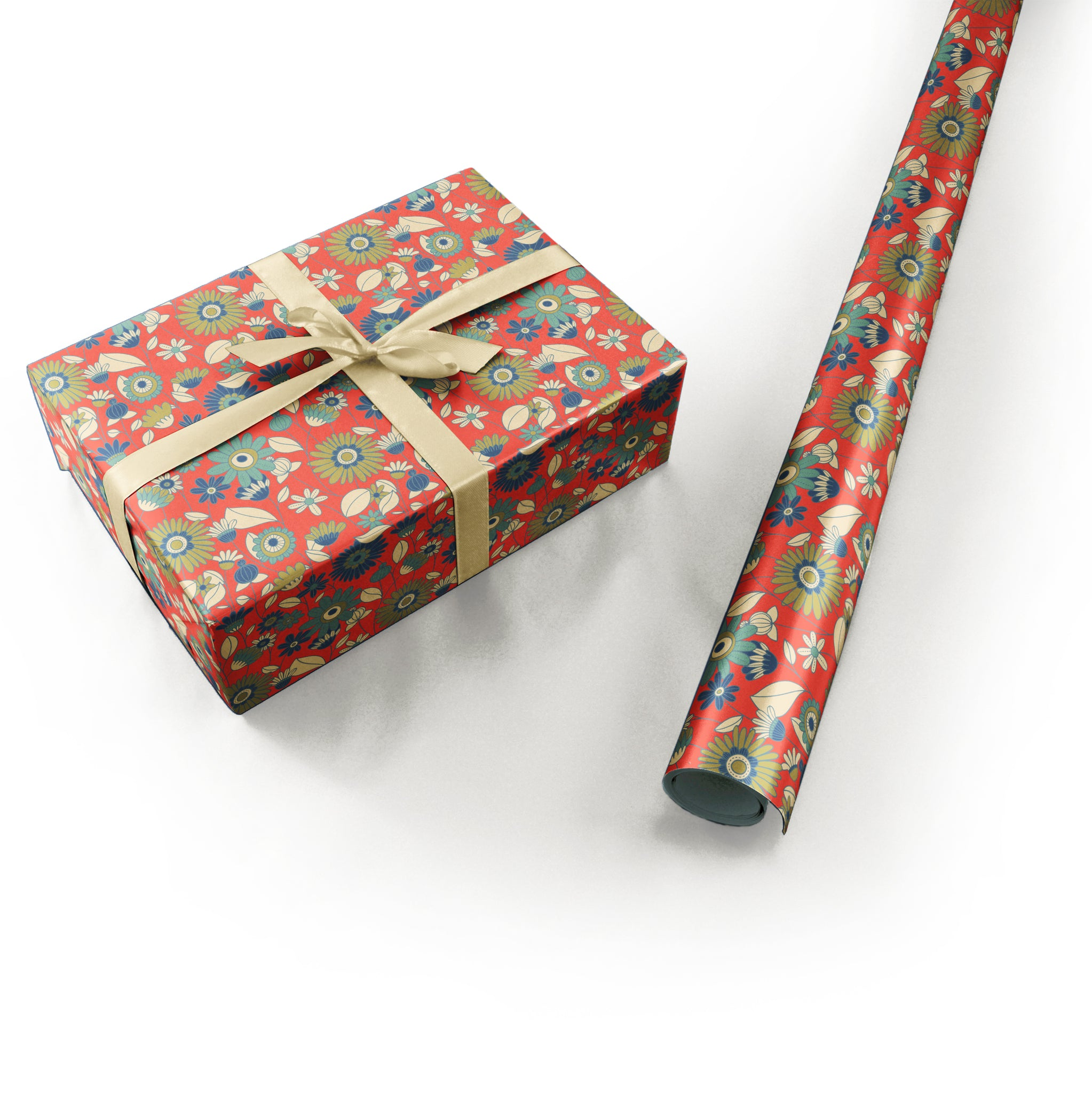 "Wrapping Paper - Laura Varsky Roll (2 sheets) - 27"" x 39"" (Red Orange)"