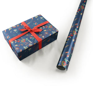 "Wrapping Paper - Laura Varsky Roll (2 sheets) - 27"" x 39"" (Royal Blue)"
