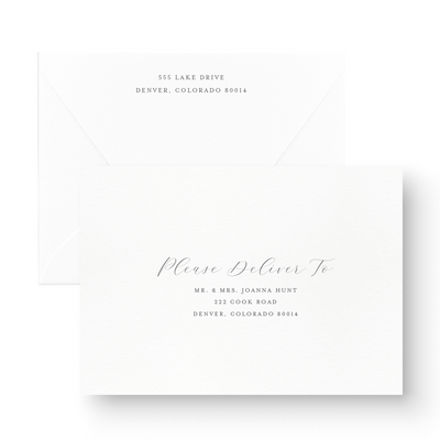 Unique Black & White Save the Date Card recipient address printing