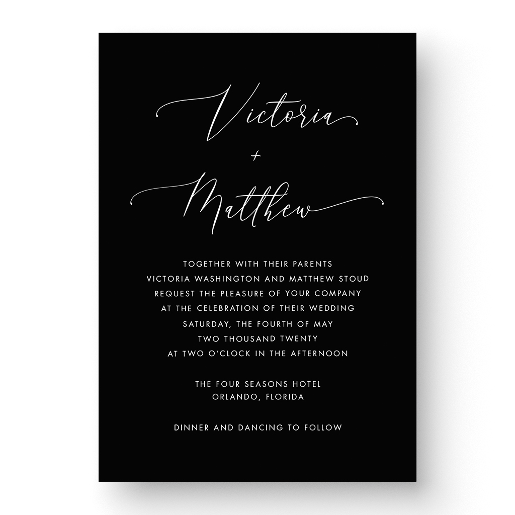 Victoria White Ink Wedding Invitation