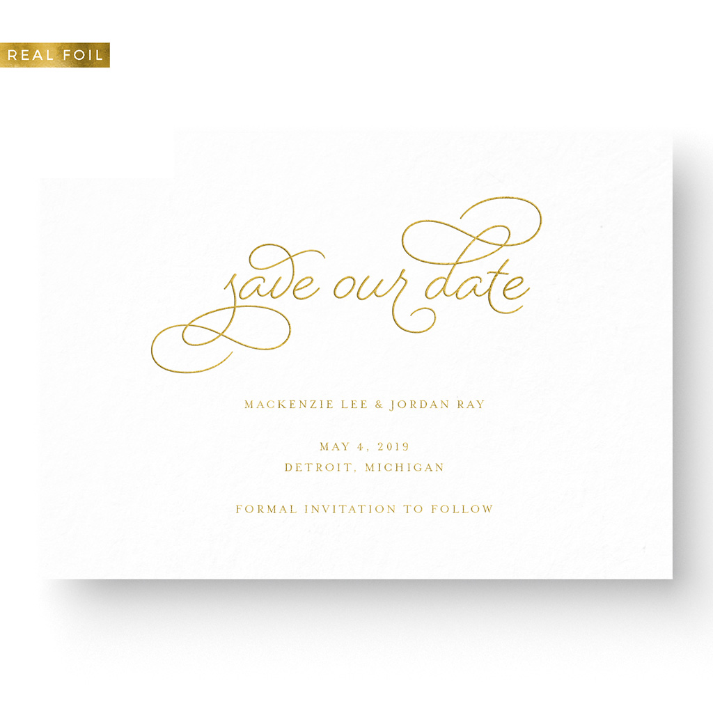 Foil Pressed Save the Date gold foil on white card