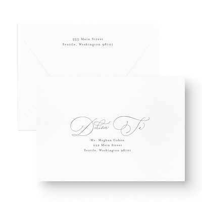 classic save the date cards with traditional calligraphy envelopes