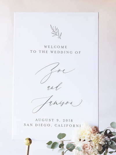 Wedding Signage | Zoe Wedding Welcome Sign