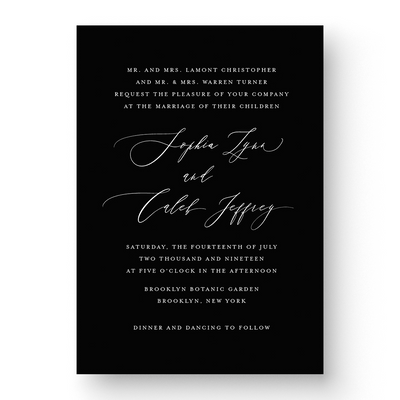 Sophia White Ink Wedding Invitation