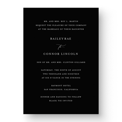 Bailey White Ink Wedding Invitation