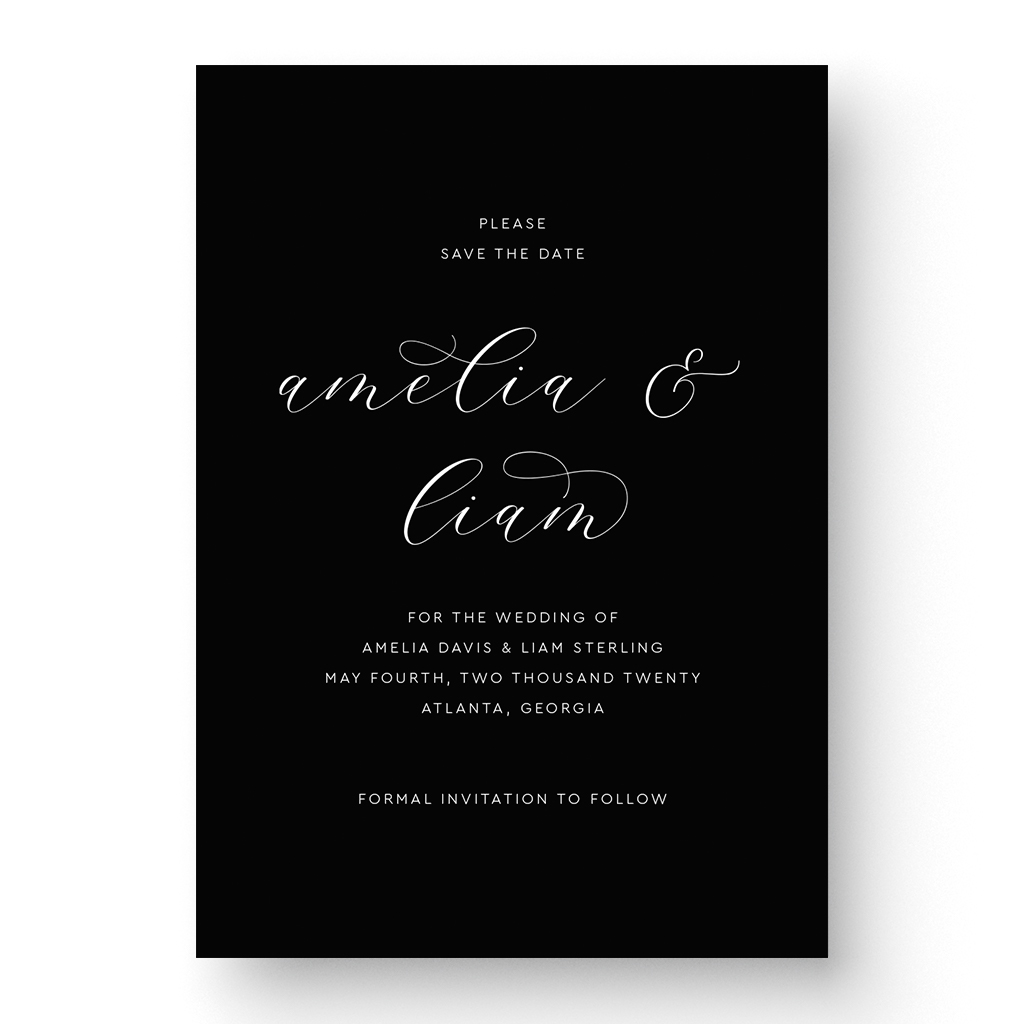Elegant Black and White Save the Date Card formal calligraphy white ink