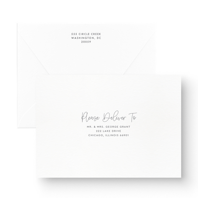 Classic Black and White Save the Date Card recipient addressing