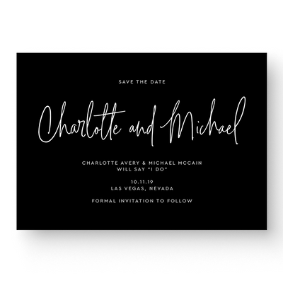Black and White Modern Calligraphy Save the Date