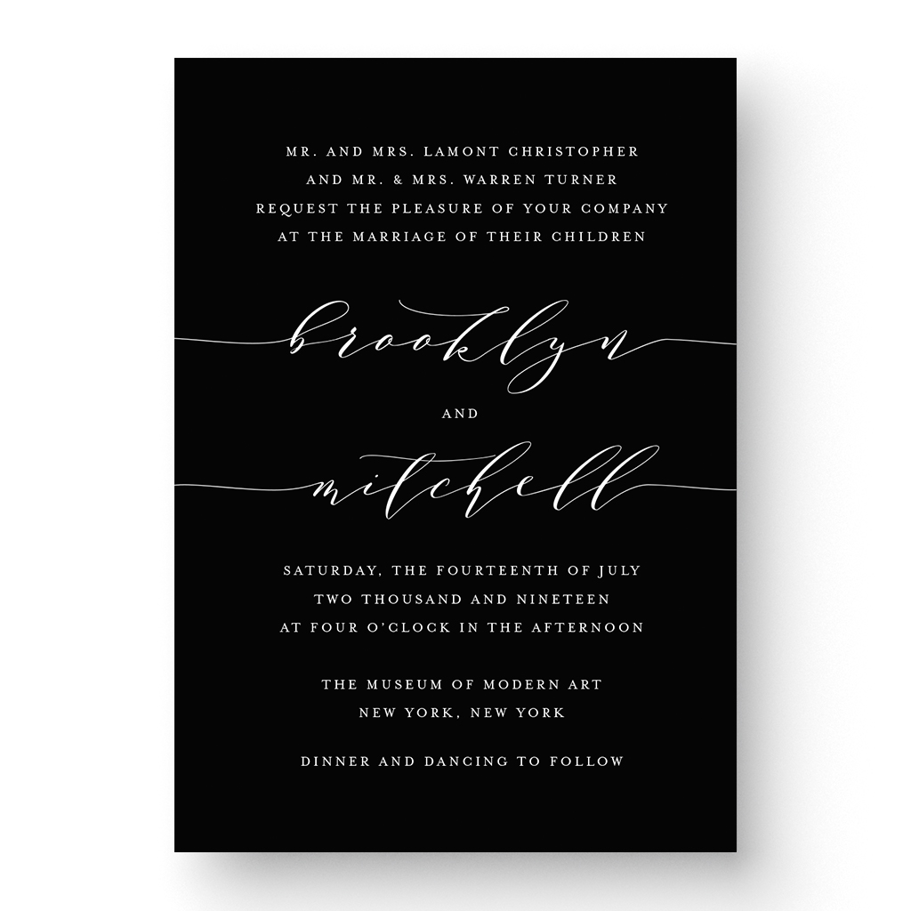 Brooklyn White Ink Wedding Invitation