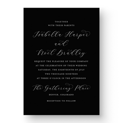 Isabella White Ink Wedding Invitation