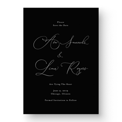 Classic White Ink Save the Date Card white ink on black