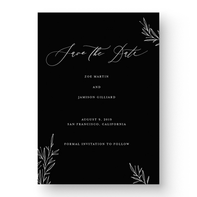 Black and White Wedding Save the date  floral calligraphy
