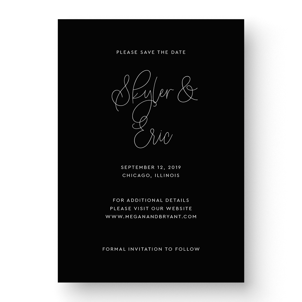 Classic Black and White Save the Date Card