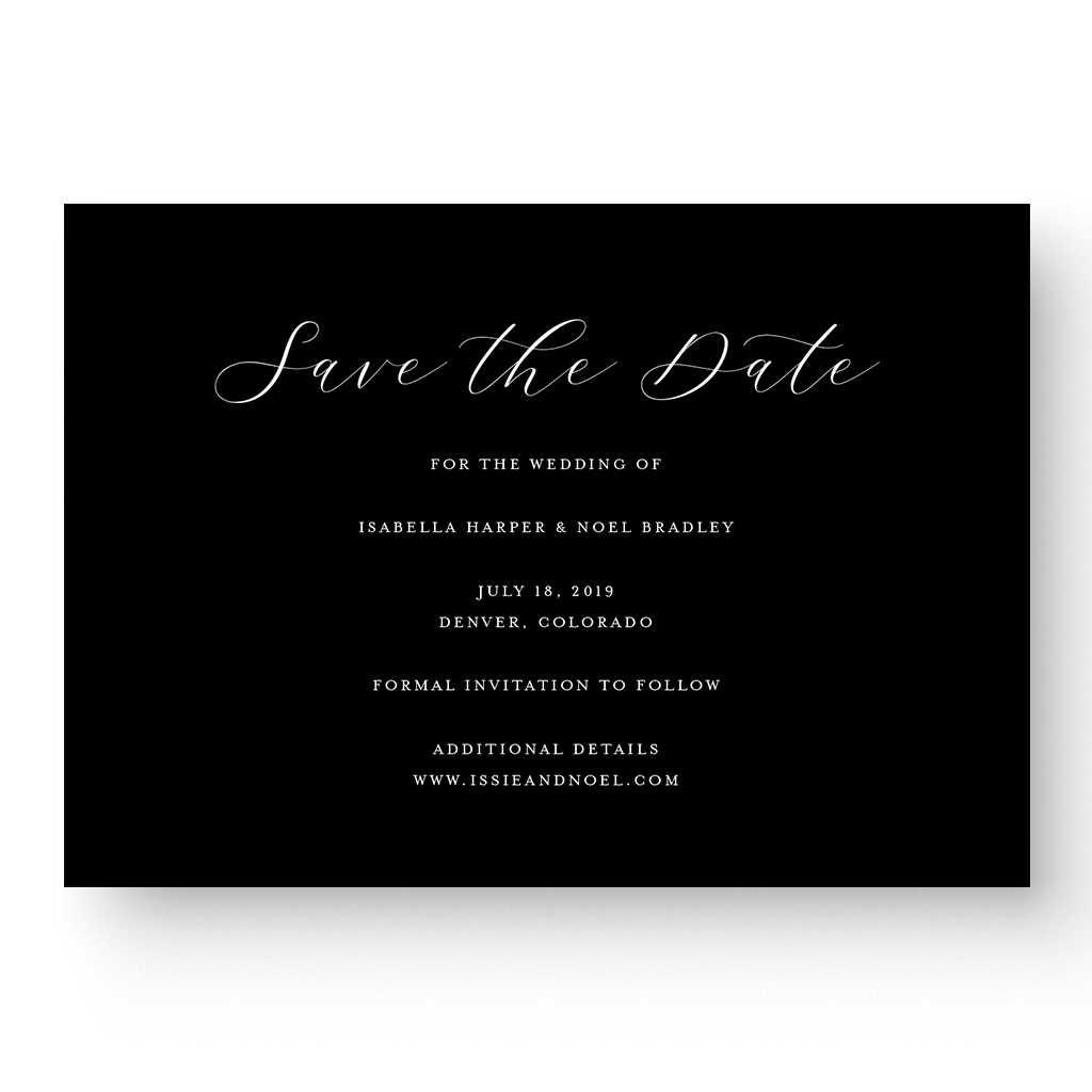 Unique Black & White Save the Date Card