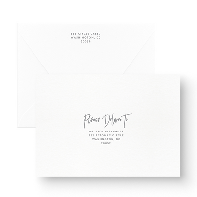 Boho White Ink Save the Date Card envelope addressing