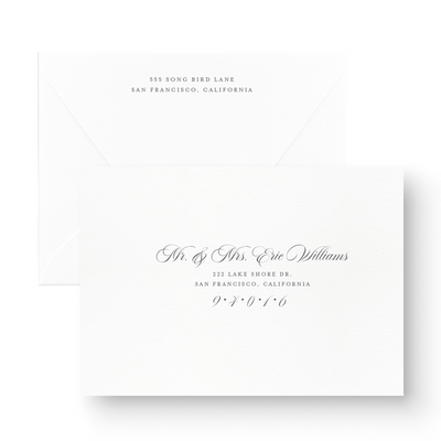 Classic White Ink Save the Date Card printed envelopes