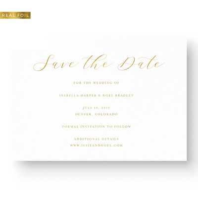 Save the Date Card with Gold Foil