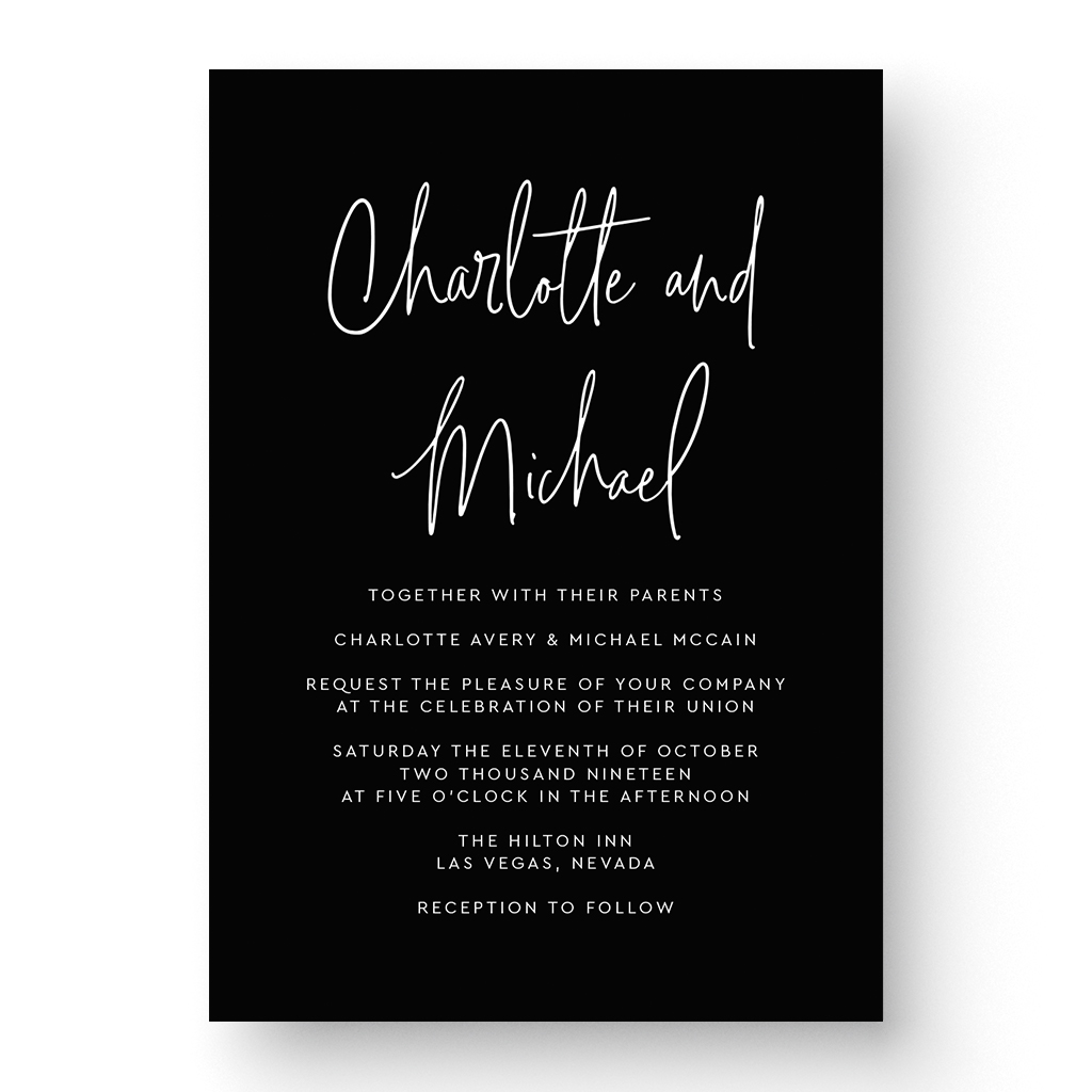 Charlotte White Ink Wedding Invitation