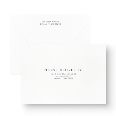 modern black and white save the date card with envelope