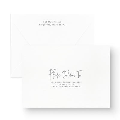 Black and White Modern Calligraphy Save the Date envelope printing